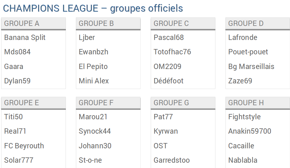 CHL groupes officiels