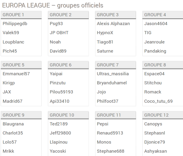 Europa groupes officiels